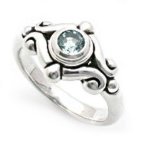 Silver with gemstone ring