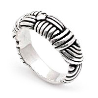 Band artistic silver ring